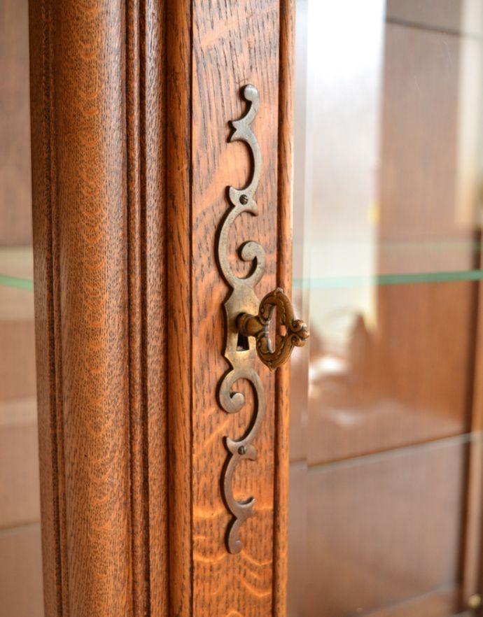 j-1704-f アンティークガラスキャビネットの鍵・上