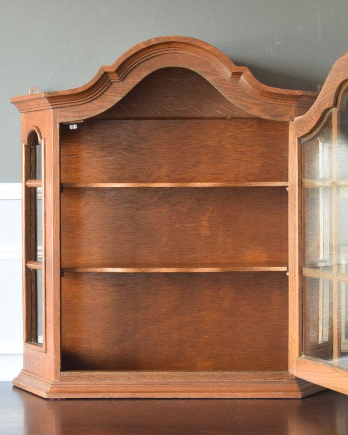 j-1763-f アンティークウォールガラスキャビネットの扉内