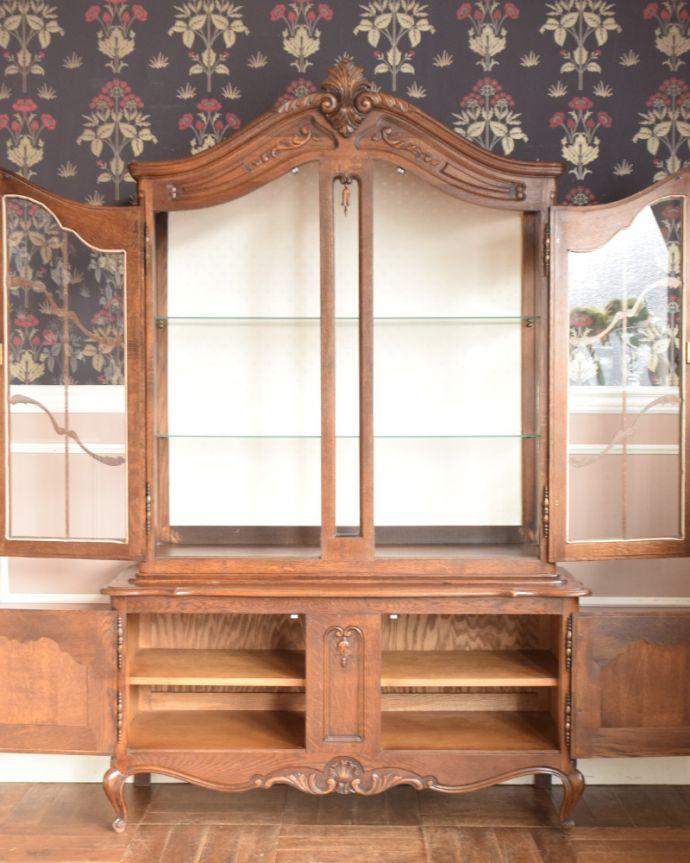j-1854-f アンティークガラスキャビネット(飾り棚)のオープン時