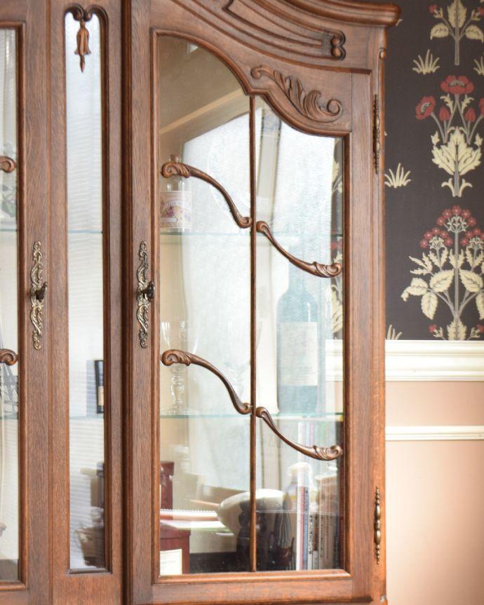 j-1854-f アンティークガラスキャビネット(飾り棚)のガラス戸