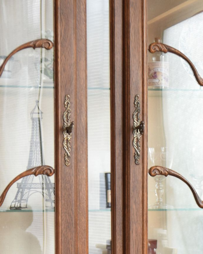 j-1854-f アンティークガラスキャビネット(飾り棚)の取っ手&鍵