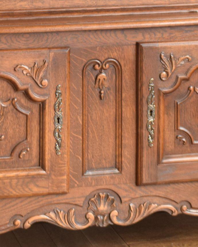 j-1854-f アンティークガラスキャビネット(飾り棚)の木製扉取っ手