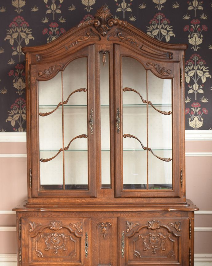 j-1854-f アンティークガラスキャビネット(飾り棚)のアップ