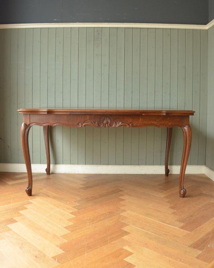 j-1855-f アンティークドローリーフテーブル(伸張式ダイニングテーブル)の閉じた状態