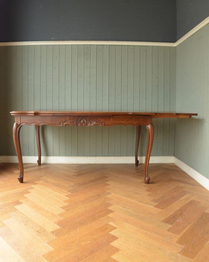 j-1855-f アンティークドローリーフテーブル(伸張式ダイニングテーブル)の片開き