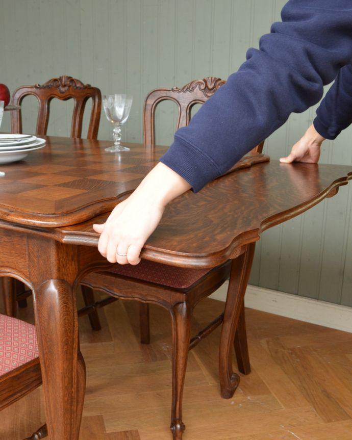 j-1855-f アンティークドローリーフテーブル(伸張式ダイニングテーブル)の開閉