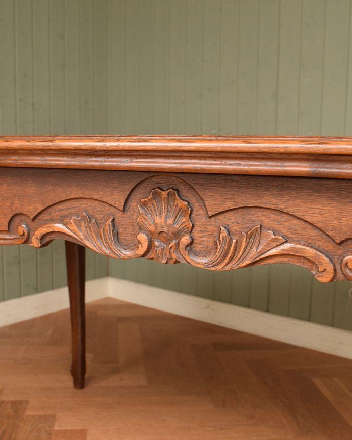 j-1855-f アンティークドローリーフテーブル(伸張式ダイニングテーブル)の彫り