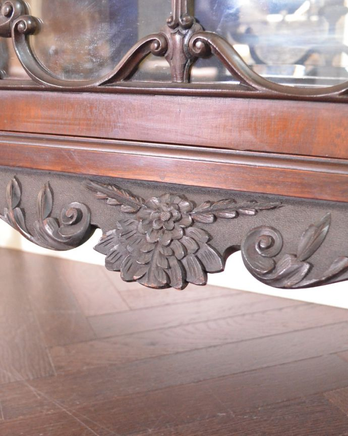 j-1866-f アンティークパーラーキャビネットの装飾5