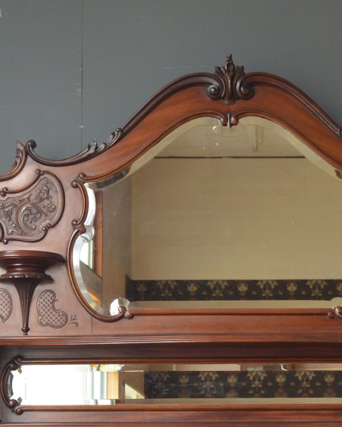 j-1867-f アンティークパーラーキャビネットのミラー