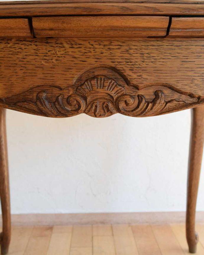 j-2298-f アンティークダイニングテーブルの彫り