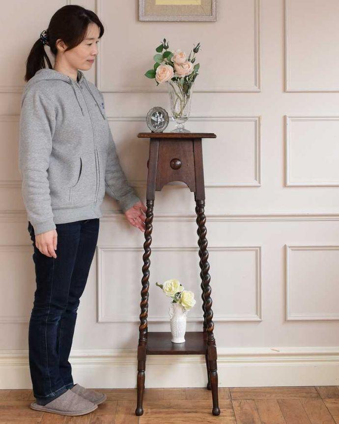 プランツスタンド・ケーキスタンド アンティーク家具 ツイスト脚が美しい英国輸入のアンティークプランツスタンド。スラッと背が高く美しいプランツスタンドアンティーク家具の中でもさらに贅沢なアンティーク。(j-2451-f)
