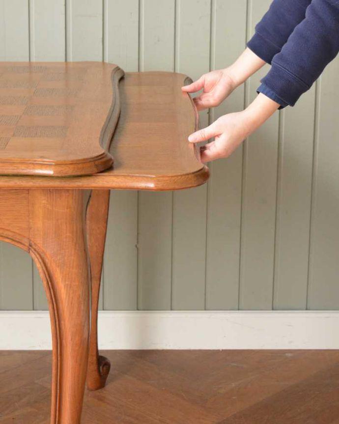 j-2457-f アンティークダイニングテーブルの伸張方法
