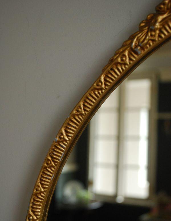 アンティーク カッティングミラー アンティーク雑貨 お花の装飾がエレガントなアンティークミラー(ゴールド)。ゴールド色のフレーム。(k-1204-z)