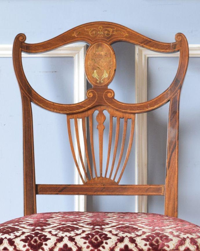 サロンチェア アンティーク チェア 象嵌が入った貴重なアンティーク、ローズウッド材の高級感漂うインレイドチェア。象嵌の装飾が施されています。(k-1217-c)