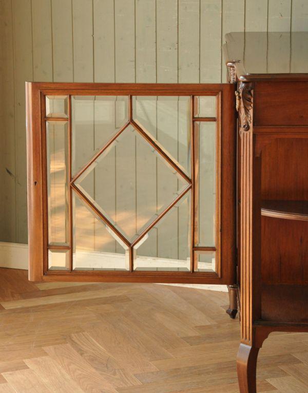 k-1217-f アンティークガラスキャビネットのガラス戸