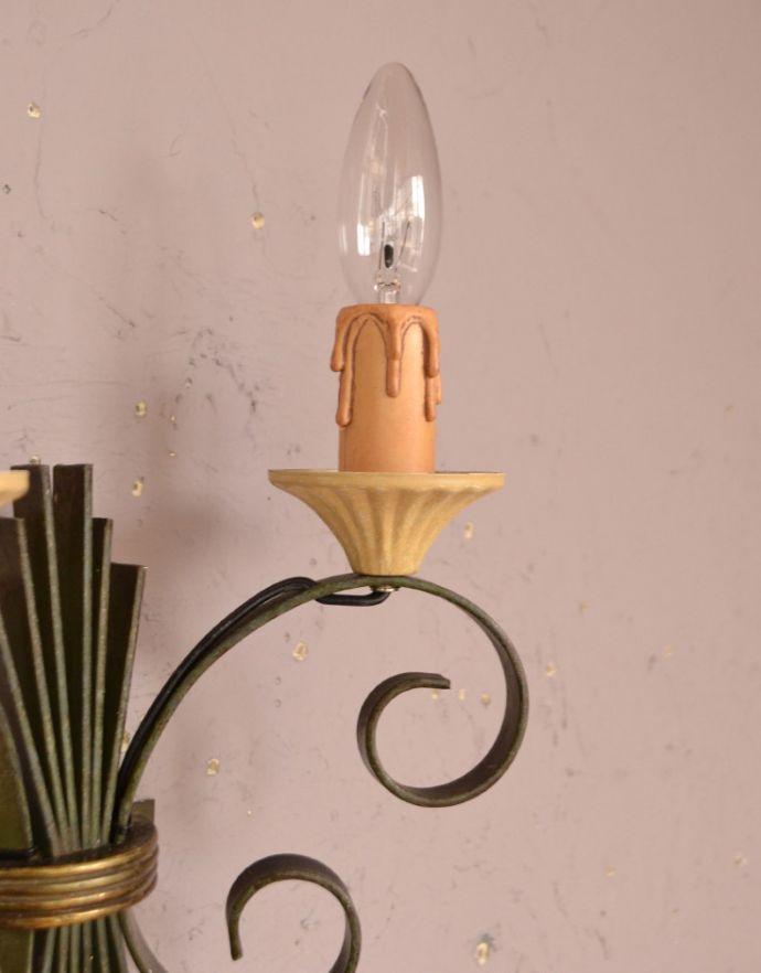 k-1461-z アンティーク壁付け照明・グリーン(2灯)の蝋管