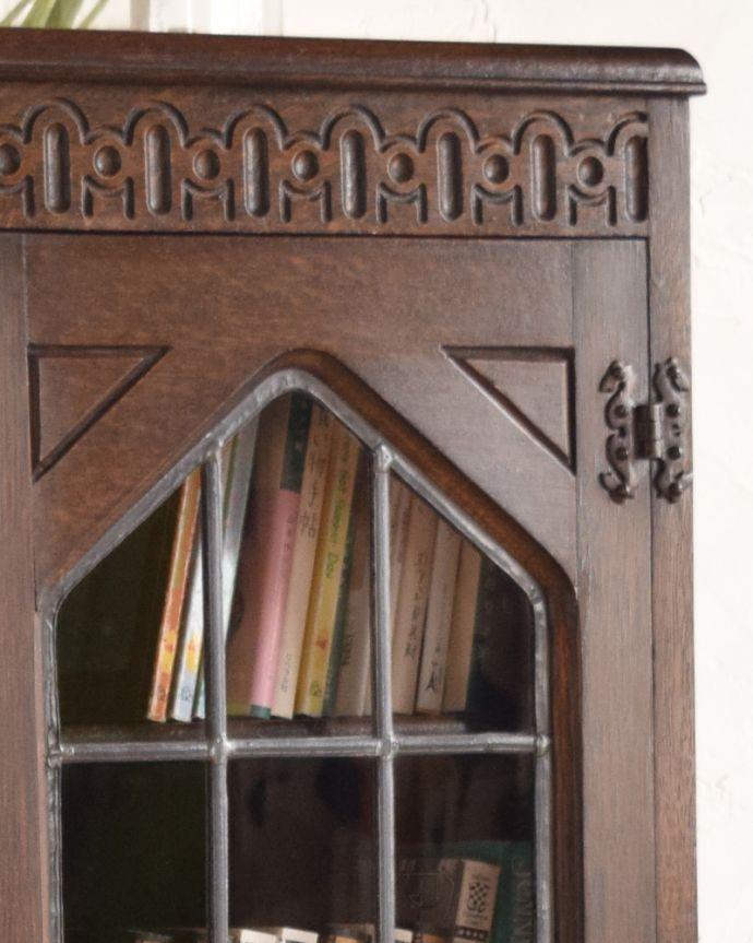 k-1462-f アンティークサイドバイサイド(本棚とビューロー)のガラス扉