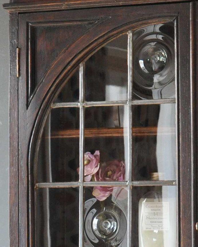 k-1463-f アンティークビューローの扉のガラス