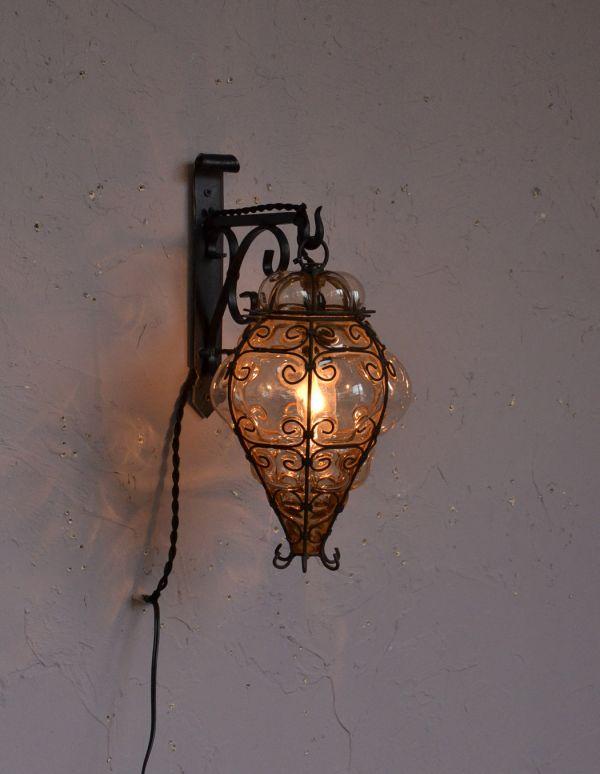 k-1474-z アンティークウォールランプの点灯
