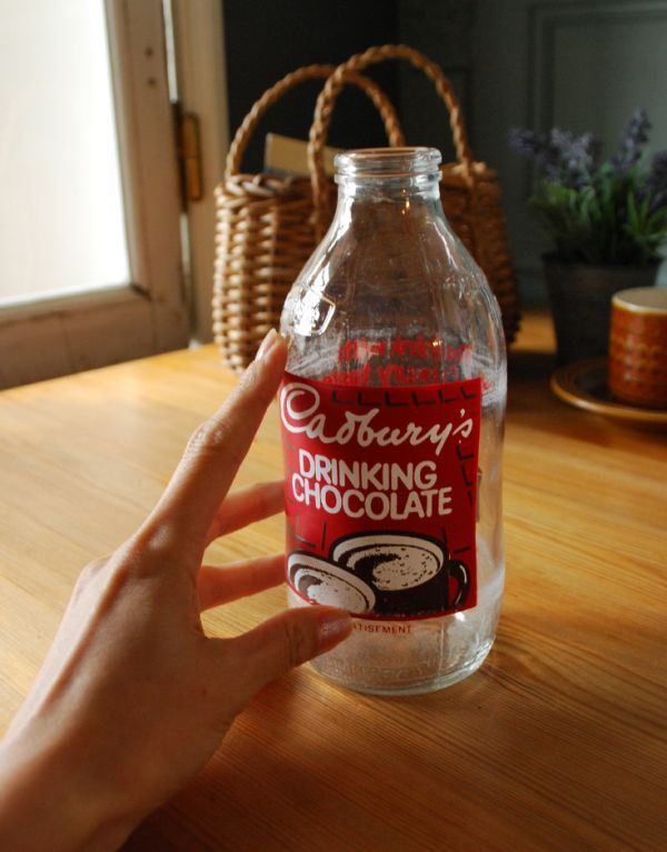 k-1488-z アンティークガラスボトル(DRINKING CHOCOLATE)の手入り