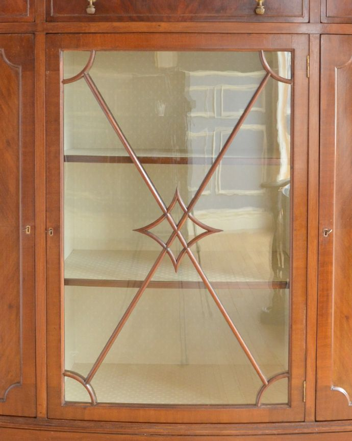 k-1498-f アンティークガラスキャビネットのガラス