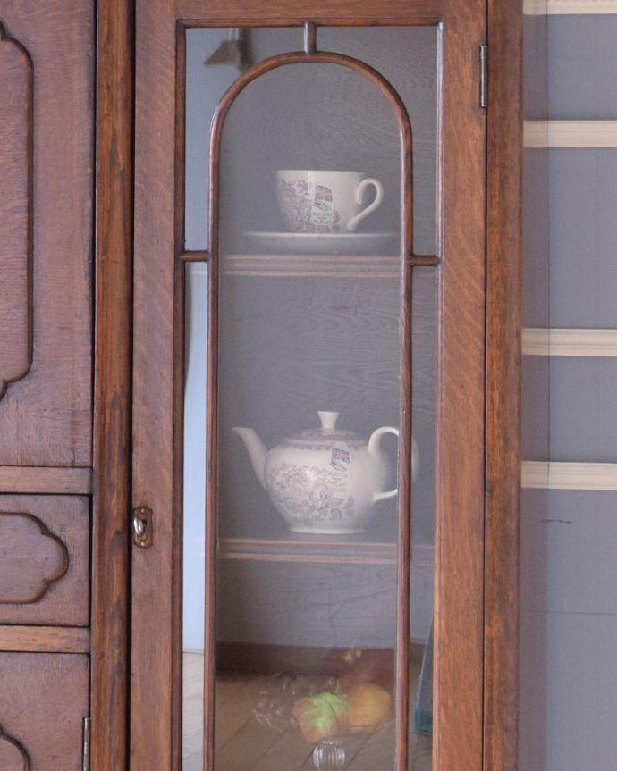 k-1503-f アンティークサイドバイサイド(本棚とビューロー)のガラス扉
