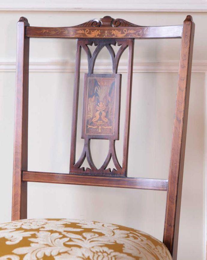 サロンチェア アンティーク チェア 美しい象嵌が気品溢れるアンティークのインレイドチェア。美しさの極みを堪能して下さい高級材で描かれた美しく柔らかなフォルム。(k-1560-c)