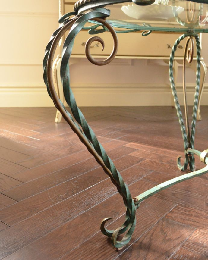 k-1602-f アンティークガラストップコーヒーテーブルの脚