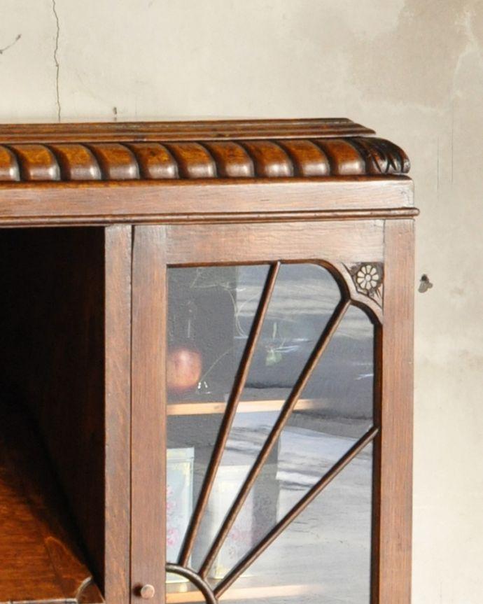 k-1618-f アンティークサイドバイサイド(本棚とビューロー)の彫り