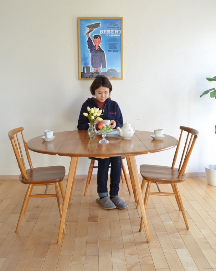 k-1640-f アンティークダイニングテーブル 伸張式 バタフライテーブルのモデル入り