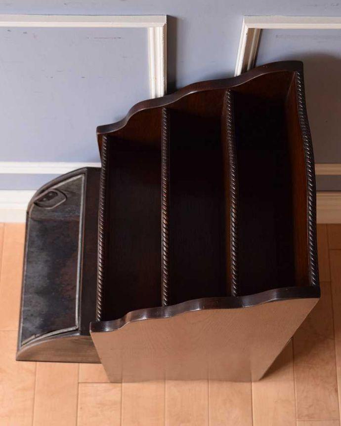 k-1648-f アンティークマガジンラック 木製の収納 の上から