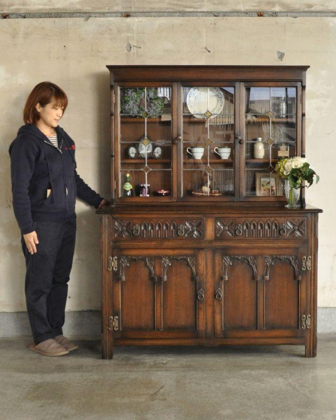 k-1657-f 英国輸入の家具、ガラスキャビネット(カップボード)のモデル入り