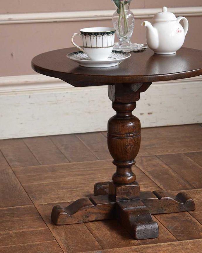 k-1664-f アンティークオケージョナルテーブルの斜めから