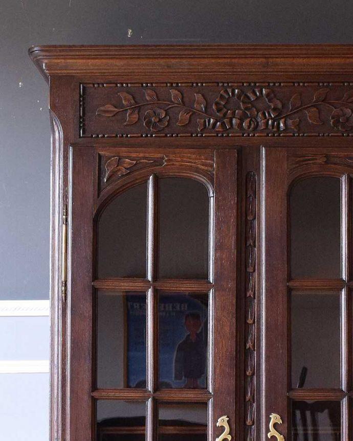 k-1665-f アンティークガラスキャビネットのガラス扉飾り