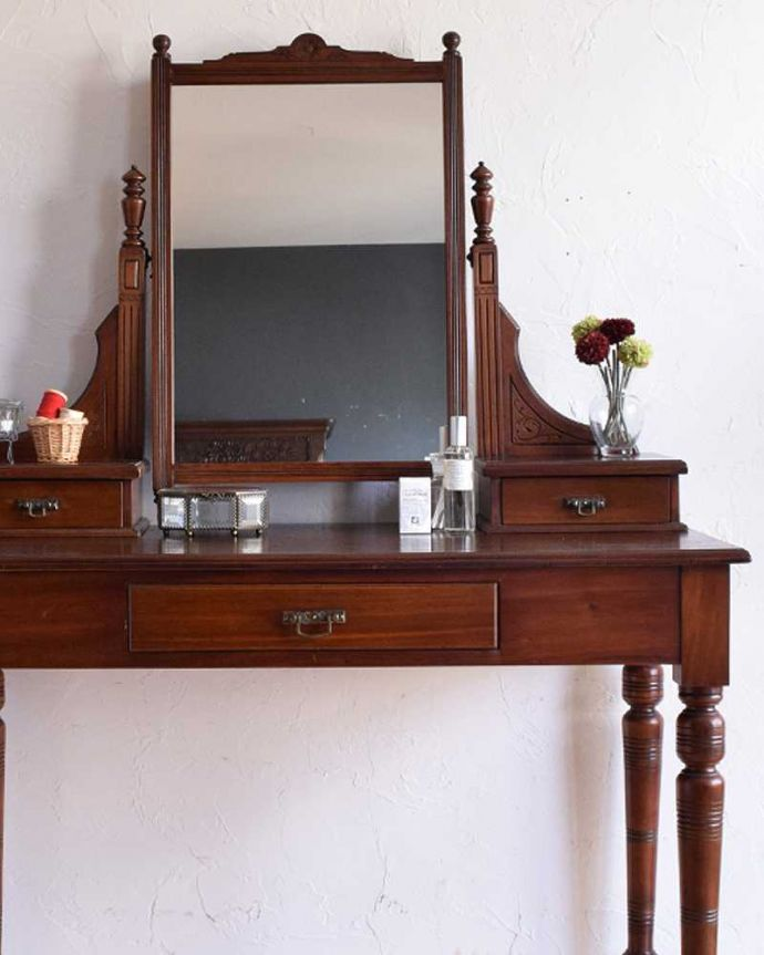-1682-f アンティークドレッシングテーブル(デスク)のアップ