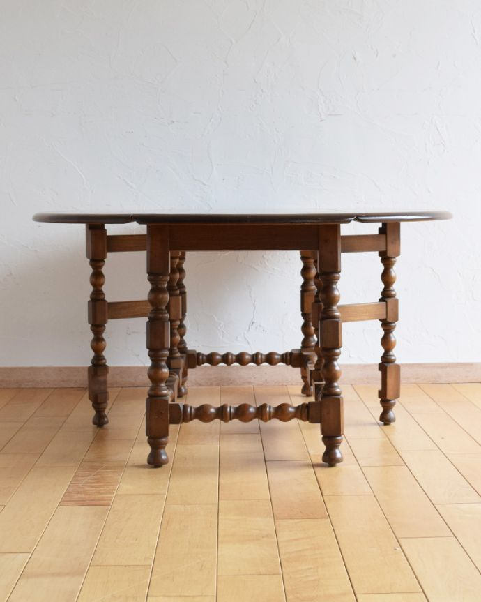 k-1697-f アンティークゲートレッグコーヒーテーブルの開いた状態
