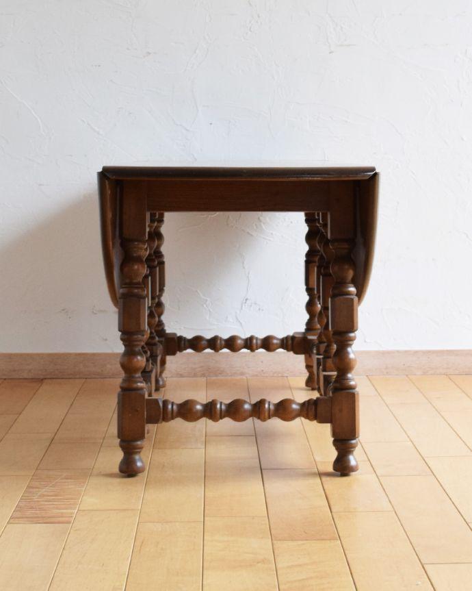 k-1697-f アンティークゲートレッグコーヒーテーブルの閉じた状態