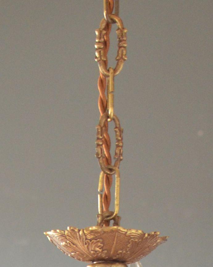 シャンデリア 照明・ライティング エレガントな真鍮製シャンデリア、フランスで見つけたアンティーク照明(5灯)(E17シャンデリア球付)。チェーンにまで装飾が付いた、こだわりのデザインです。(k-1714-z)