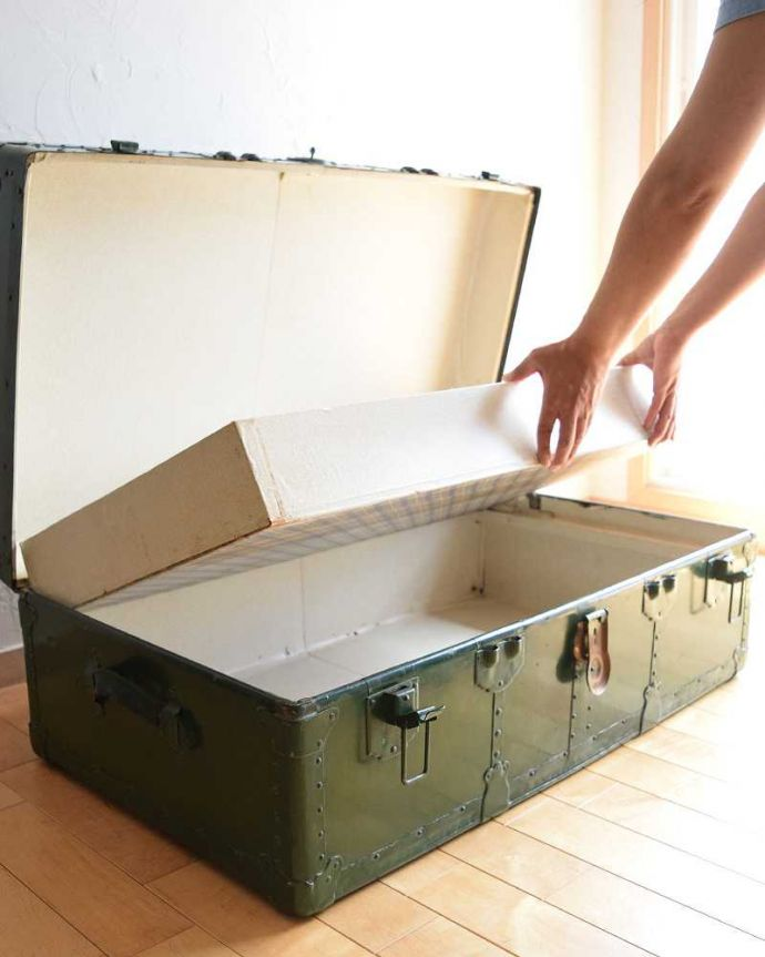k-1731-f 英国輸入のアンティークトランクケースの手入り