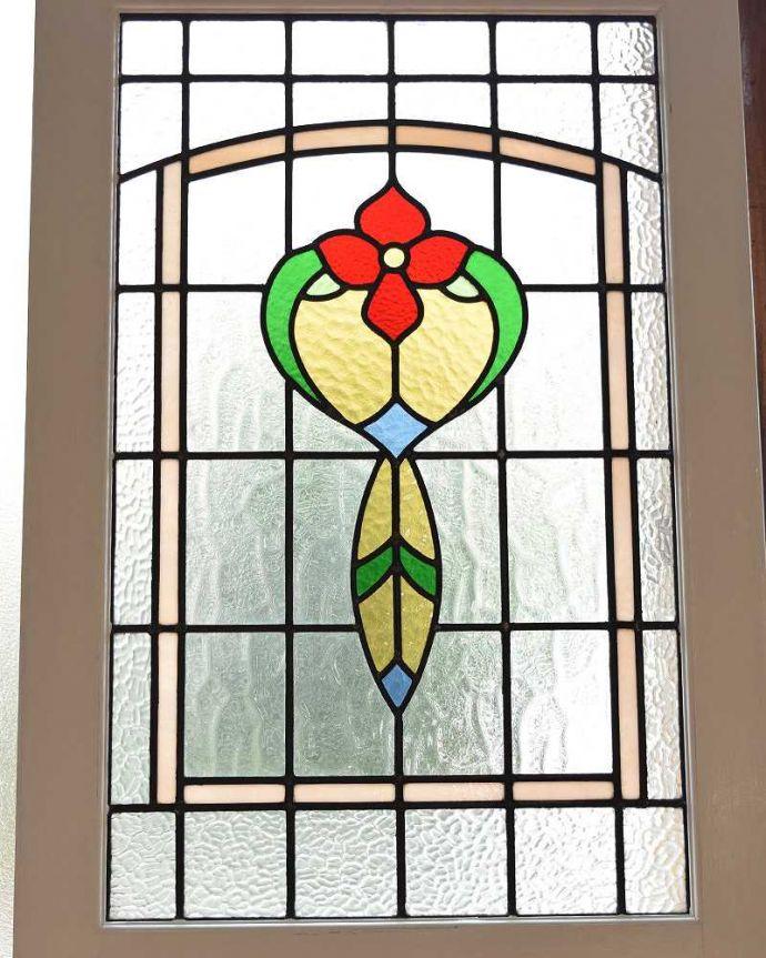 k-1745-f アンティークステンドグラス入りドアのガラス