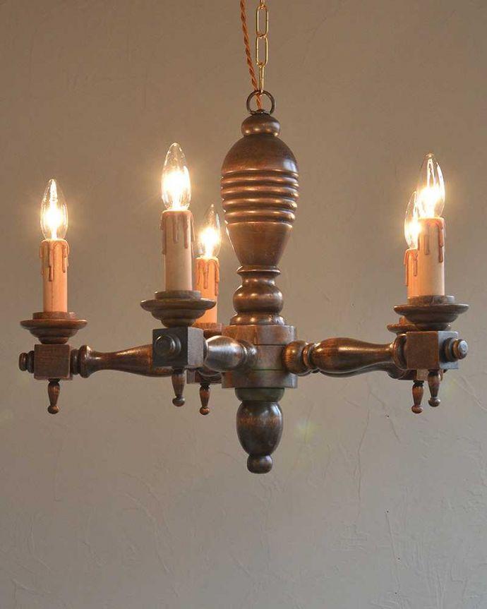 k-1867-z アンティーク シャンデリア(5灯)の点灯