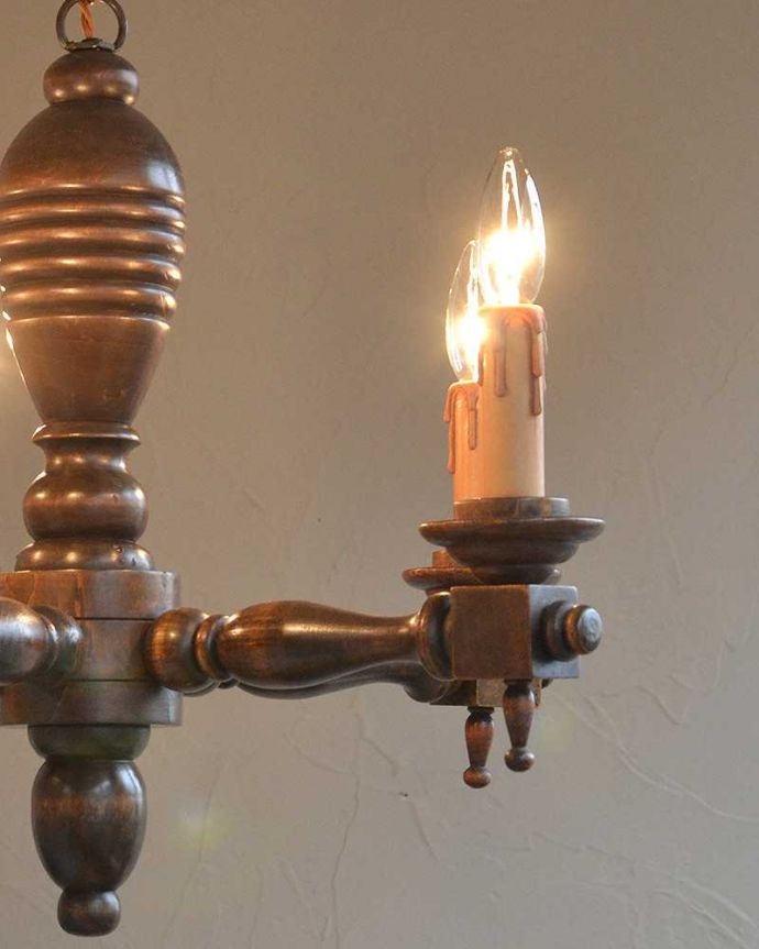 k-1867-z アンティークシャンデリア点灯のズーム