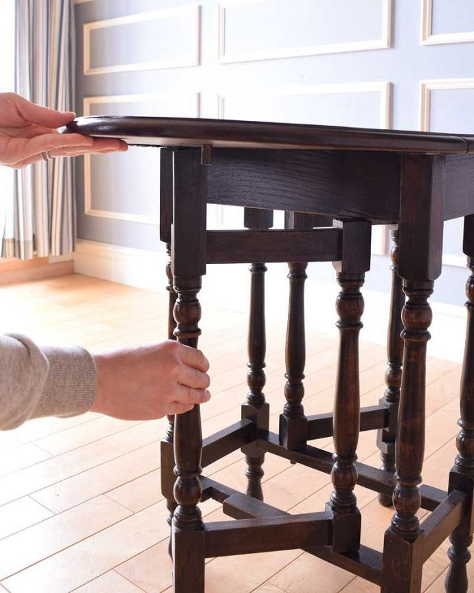 k-1868-f アンティークゲートレッグテーブルの伸張方法