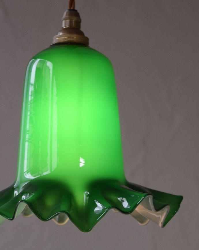 k-1877-z アンティークペンダントライト(照明)の点灯時アップ