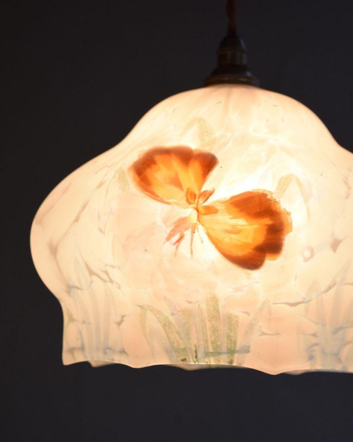 k-1898-z かわいいアンティークのペンダントライト(照明器具)の点灯時アップ