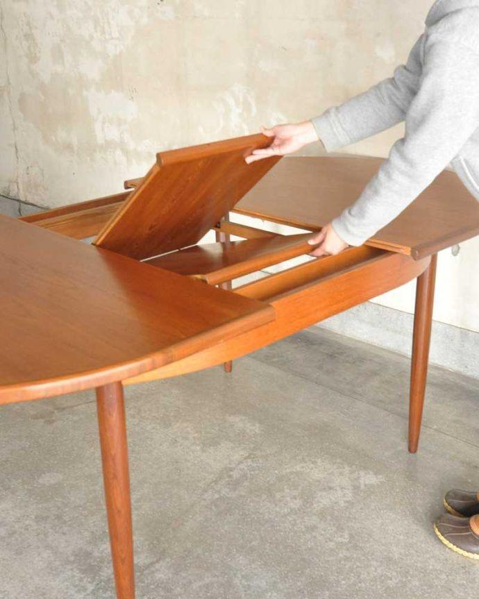 k-1904-f ビンテージダイニングテーブルの伸張方法