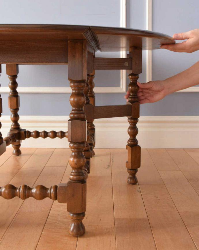 k-1908-f  アンティークゲートレッグテーブルの伸張方法