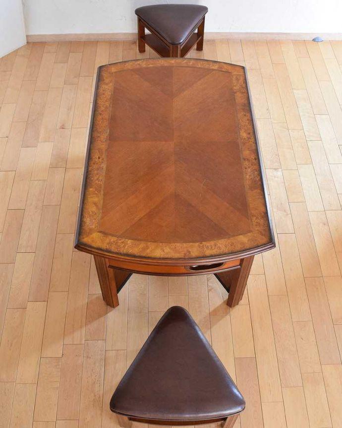 アンティークのテーブル アンティーク家具 英国で出会っためずらしい家具、アンティークの遊べちゃうコーヒーテーブル(フットボールテーブル)。上から見るとこんな形のコーヒーテーブルです。(k-1996-f)