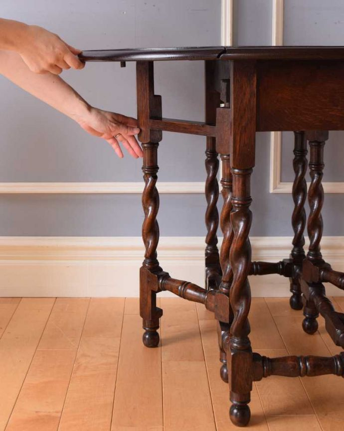 k-2072-f アンティークゲートレッグテーブルの伸張方法