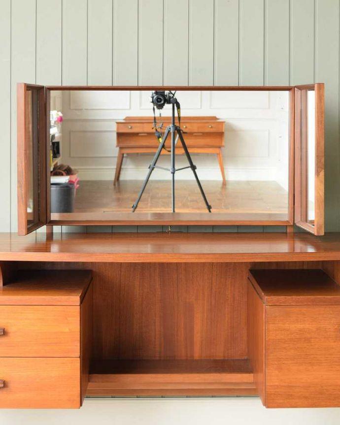k-2125-f アンティークドレッシングテーブルの三面鏡閉じた状態